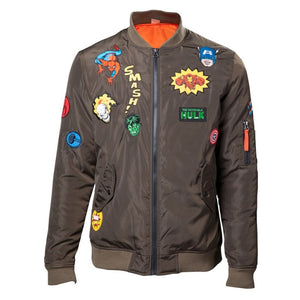 Official Marvel comics super hero patches khaki bomber jacket
