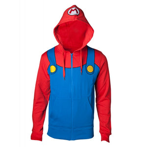 Official Nintendo - super Mario bros Mario dungarees costume / cosplay zip hoodie jumper