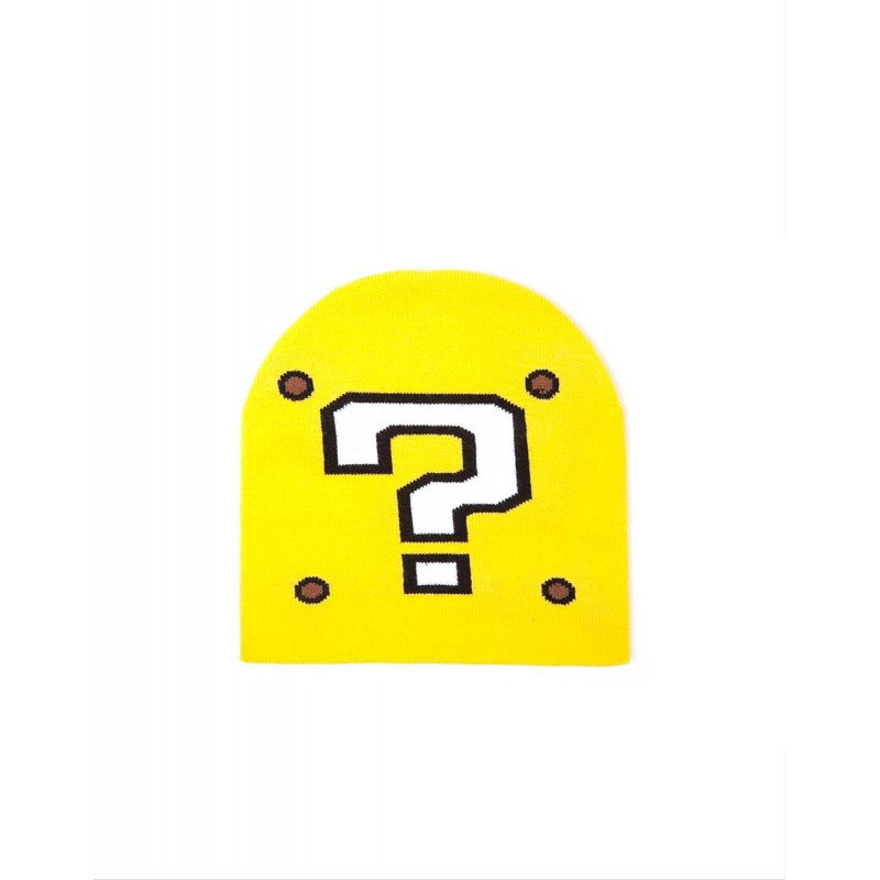 Official Nintendo - super Mario bros question mark block knitted styled yellow beanie