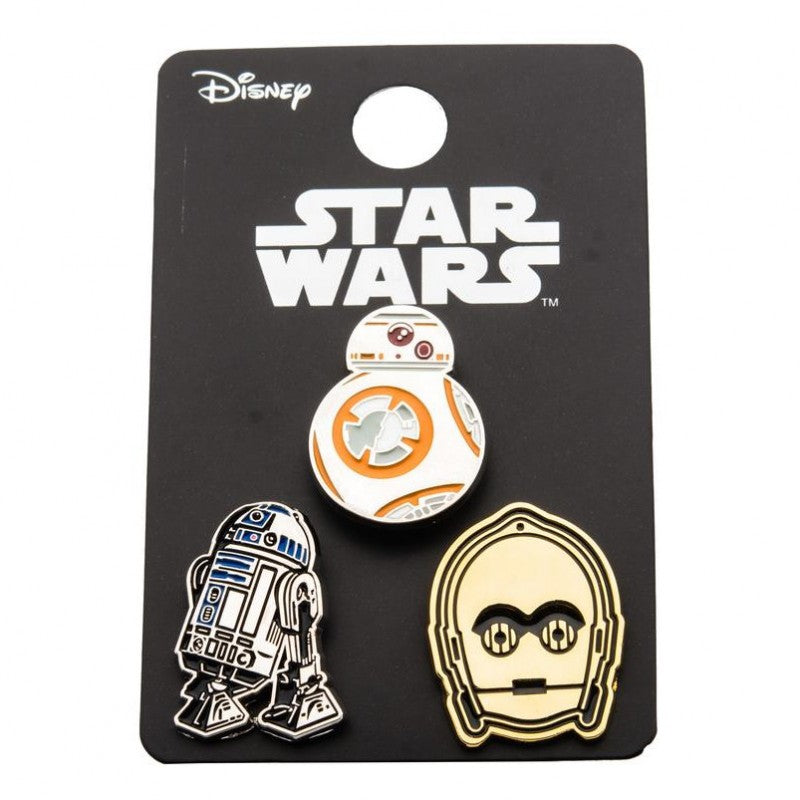 Official Star wars - BB-8, R2-D2 & C-3PO (droids) set of 3 metal enamel pin badge