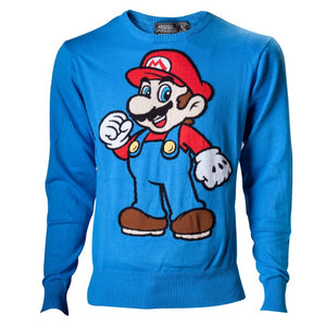 Official super Mario bro's Mario blue knitted sweater jumper