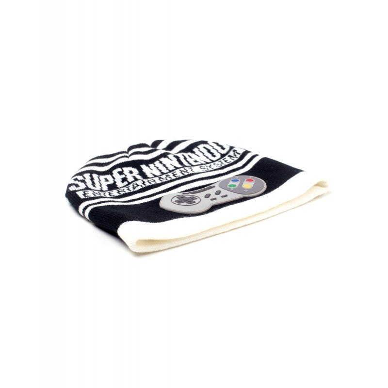Official Super Nintendo entertainment system controller black and white striped beanie