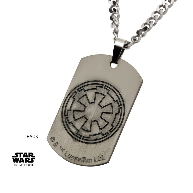 Star wars rogue one: Darth Vader Deathstar dog tag pendant on chain necklace