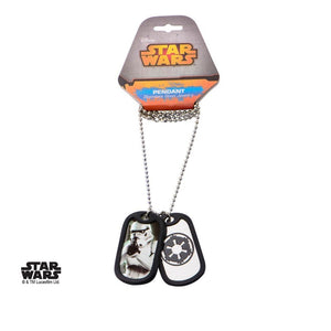 Star wars - stormtrooper / galactic empire dog tag pendant with chain necklace