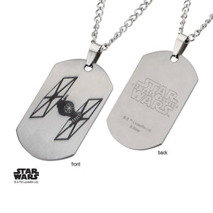 Star wars Tie fighter dog tag pendant on chain necklace