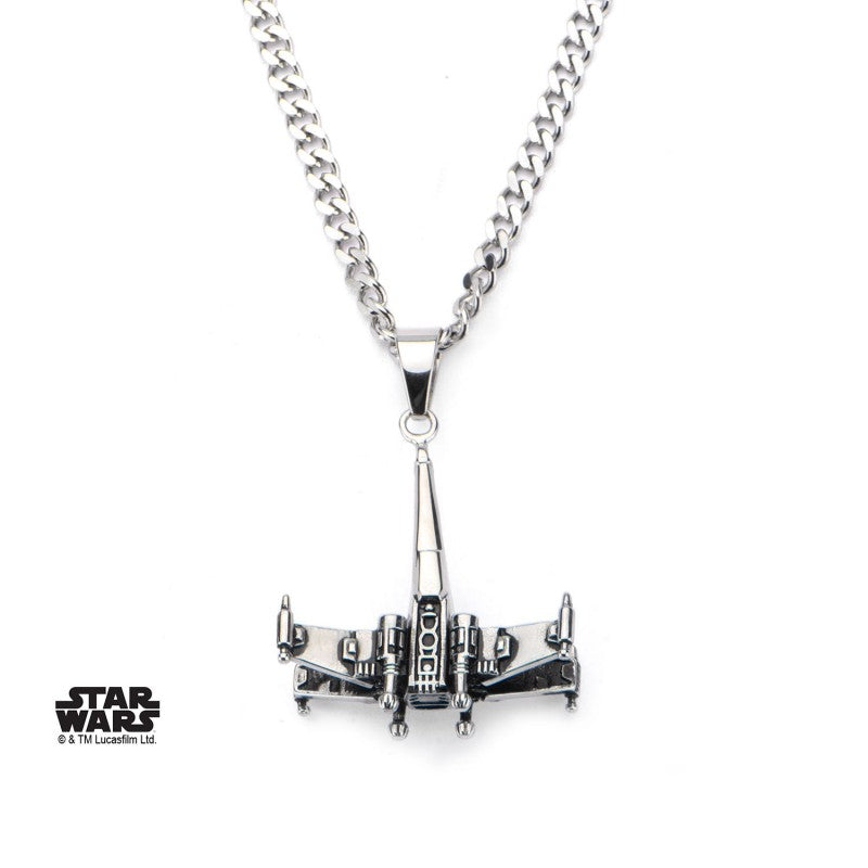 Star wars X-Wing star fighter 3D pendant on chain necklace