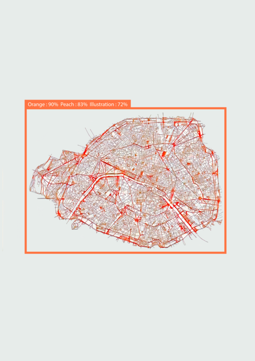 [Fig.4] 'Orange, Peach, Illustration', from the series 'Divergences de vues'. The artwork is created using old maps of Paris, then showed to a pre-trained machine learning model of AI Vision, Google's artificial intelligence that detects objects in images. The artwork represents the multiple points of view and the possibility to see things with new eyes. Courtesy of Marion Carré.
