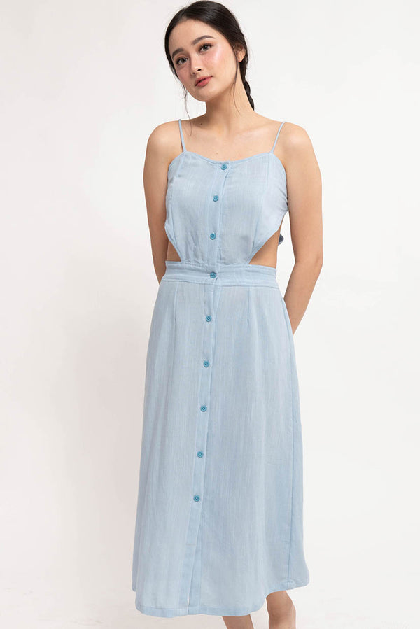 ALENA BACKLESS DRESS - BLUE