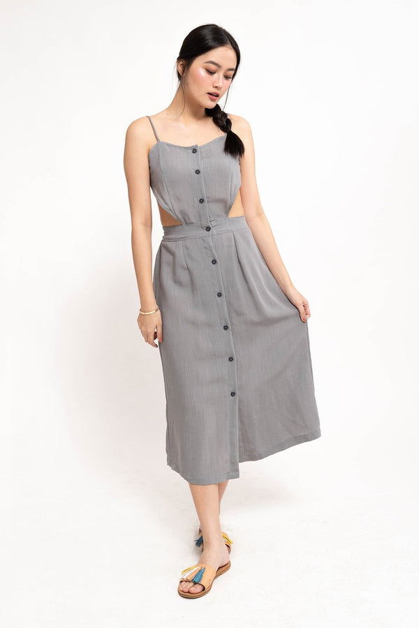 ALENA BACKLESS DRESS - GRAY
