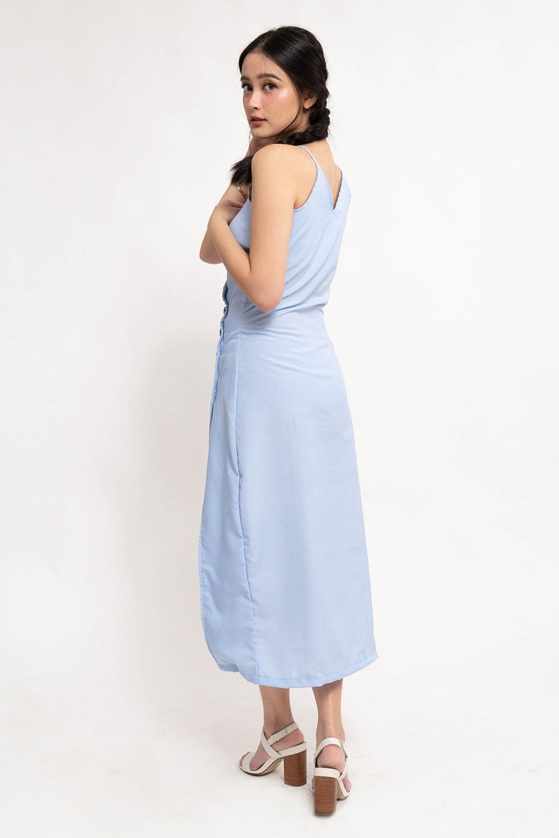 ELLA BUTTON DOWN DRESS - BLUE