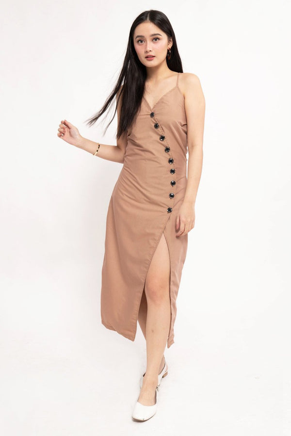 ELLA BUTTON DOWN DRESS - BROWN