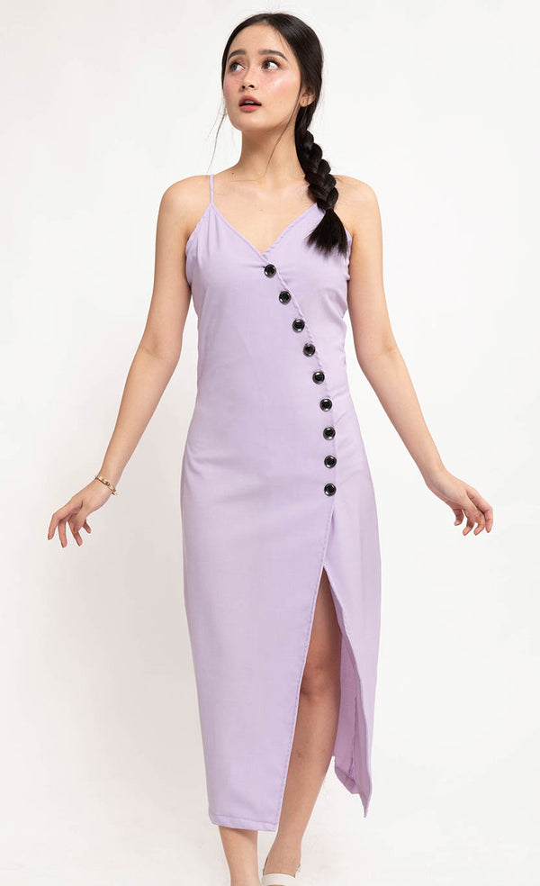 ELLA BUTTON-DOWN DRESS - LAVANDER