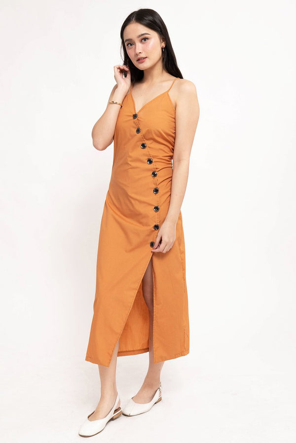 ELLA BUTTON-DOWN DRESS - RUST