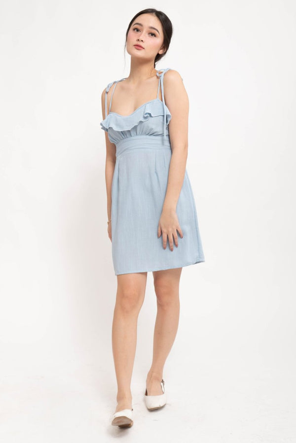 NAOMI RUFFLE LINEN DRESS - BLUE