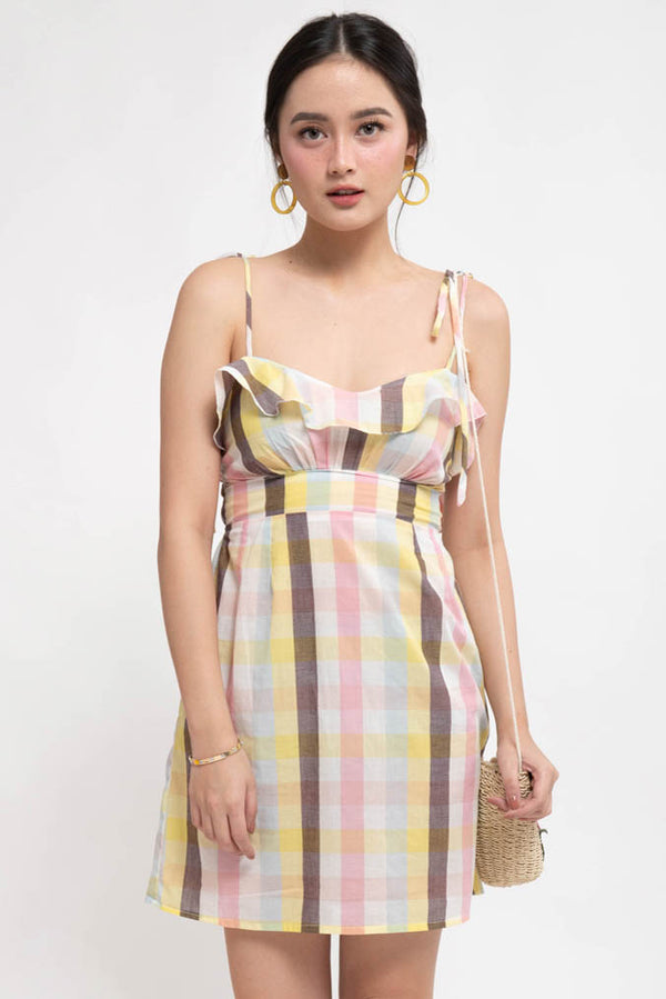NAOMI RUFFLE LINEN DRESS - CHECKERED