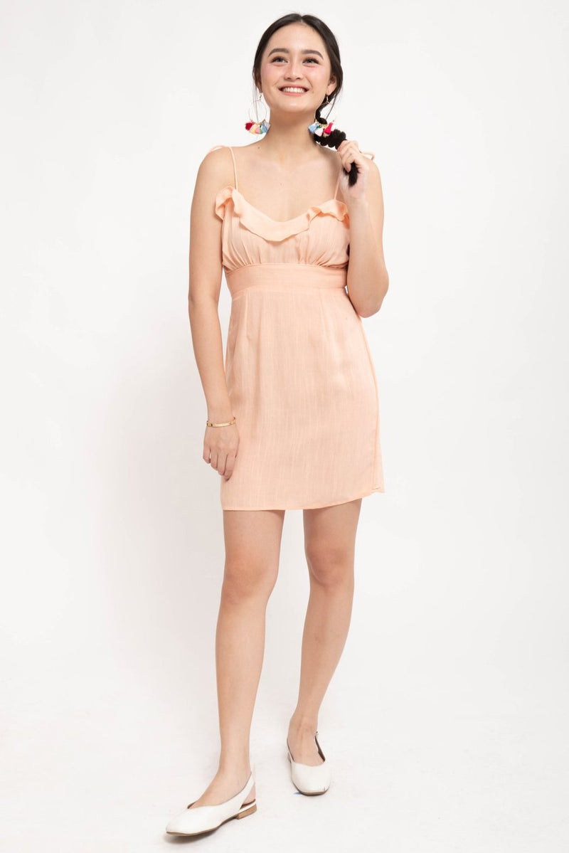 NAOMI RUFFLE LINEN DRESS - PINK