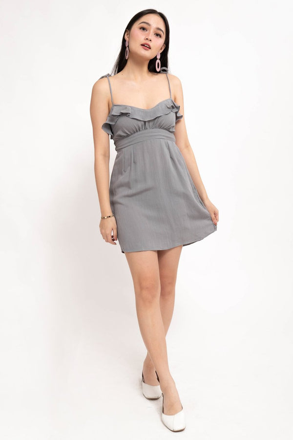 NAOMI RUFFLE LINEN DRESS - GRAY