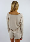 rib knit oatmeal off white  loungewear set shorts and v-neck top with drawstring tie