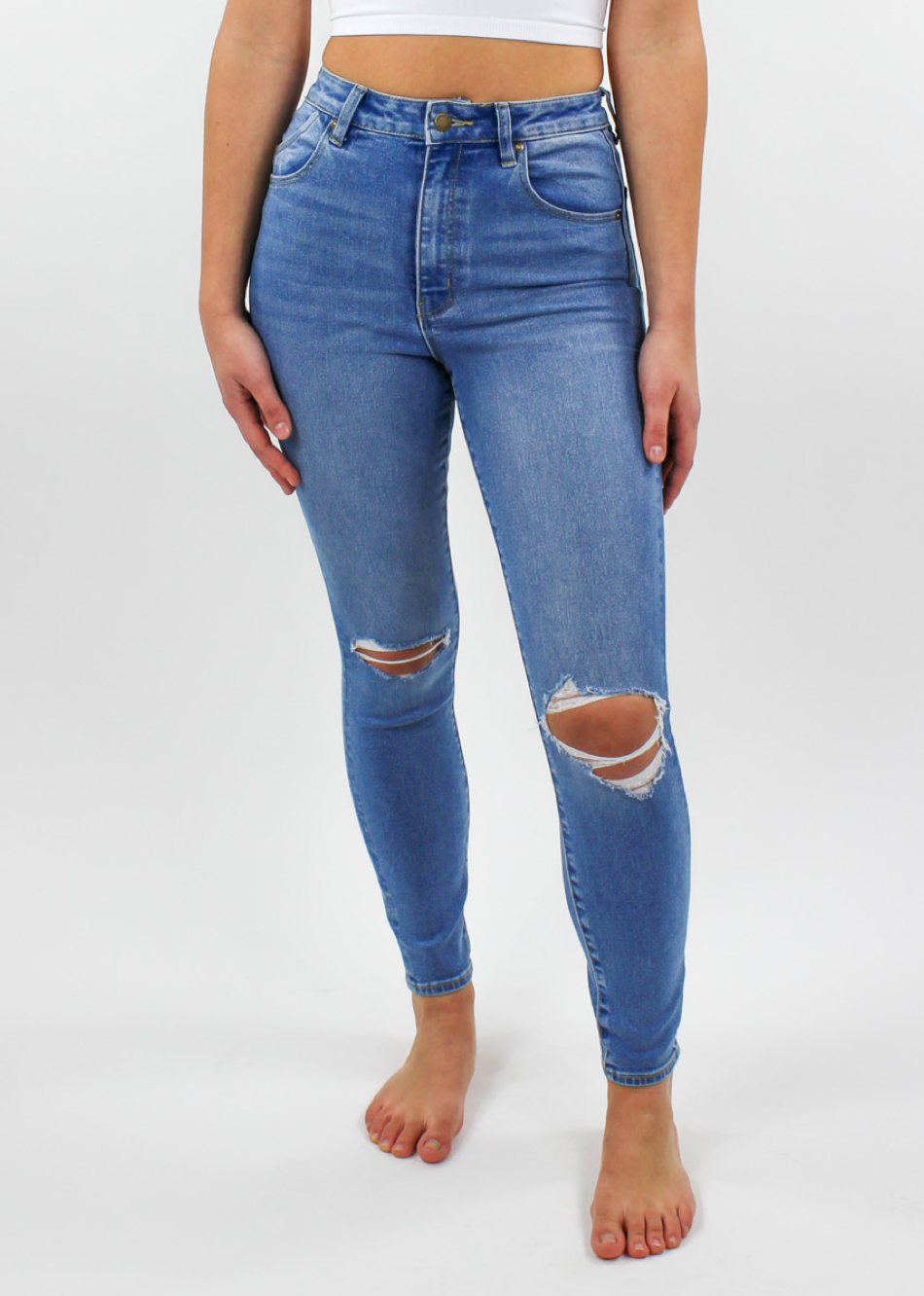 Rollas Eastcoast Ankle Mid Rise Distressed Jeans ★ Medium Wash Denim - Rock N Rags