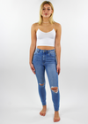 Rollas Eastcoast Ankle Mid Rise Distressed Jeans ★ Ocean Blue