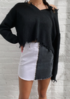 2 tone Black and White Denim Skirt with Two Pockets on the Front and Two Pockets on the Back, Zipper Closure, and Distressing