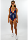 Party in the USA One-Piece Swimsuit ★ Navy & Red - Rock N Rags