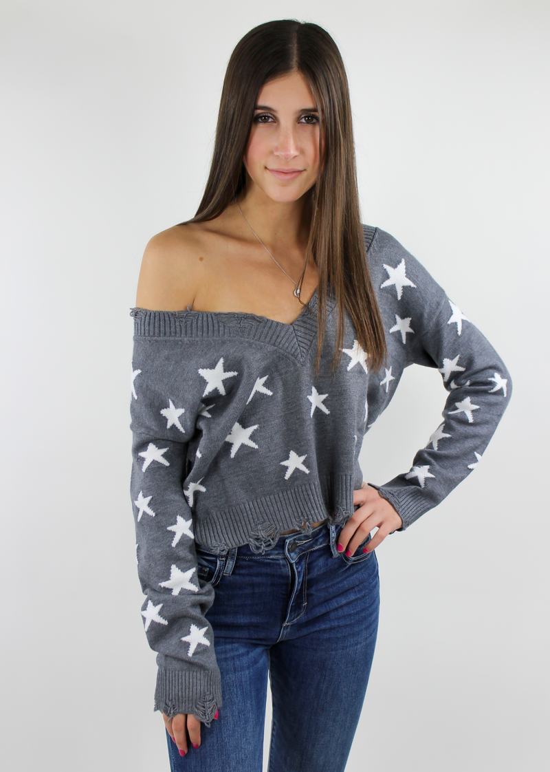 The Sweet Life Sweater ★ Heather Grey Stars - Rock N Rags