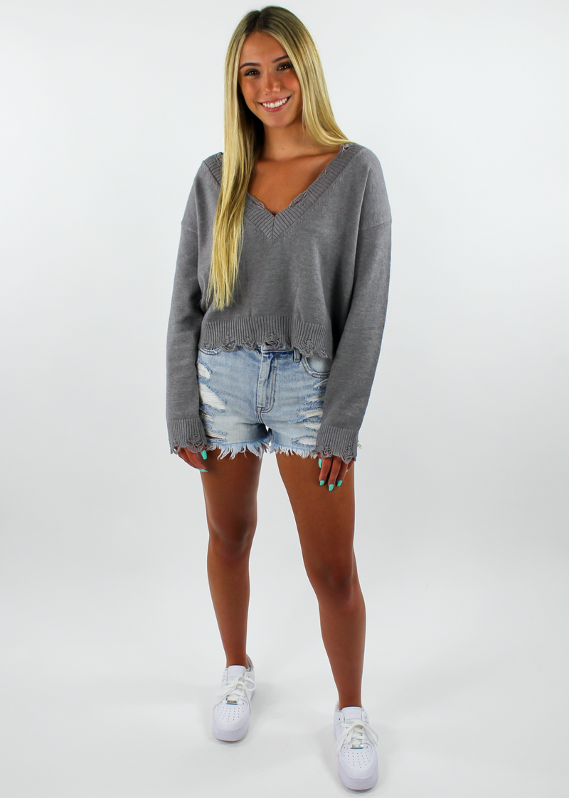 The Sweet Life Sweater ★ Grey - Rock N Rags