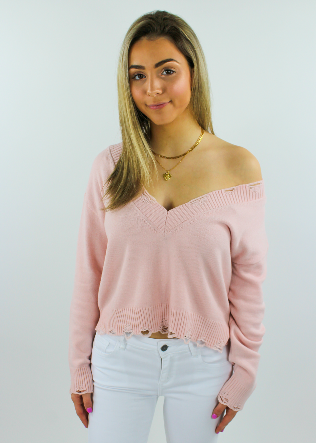 The Sweet Life Sweater ★ Peach - Rock N Rags