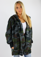 Camouflage Fuzzy Hooded Jacket Cardigan with Pockets and Fitted Knit Sleeves