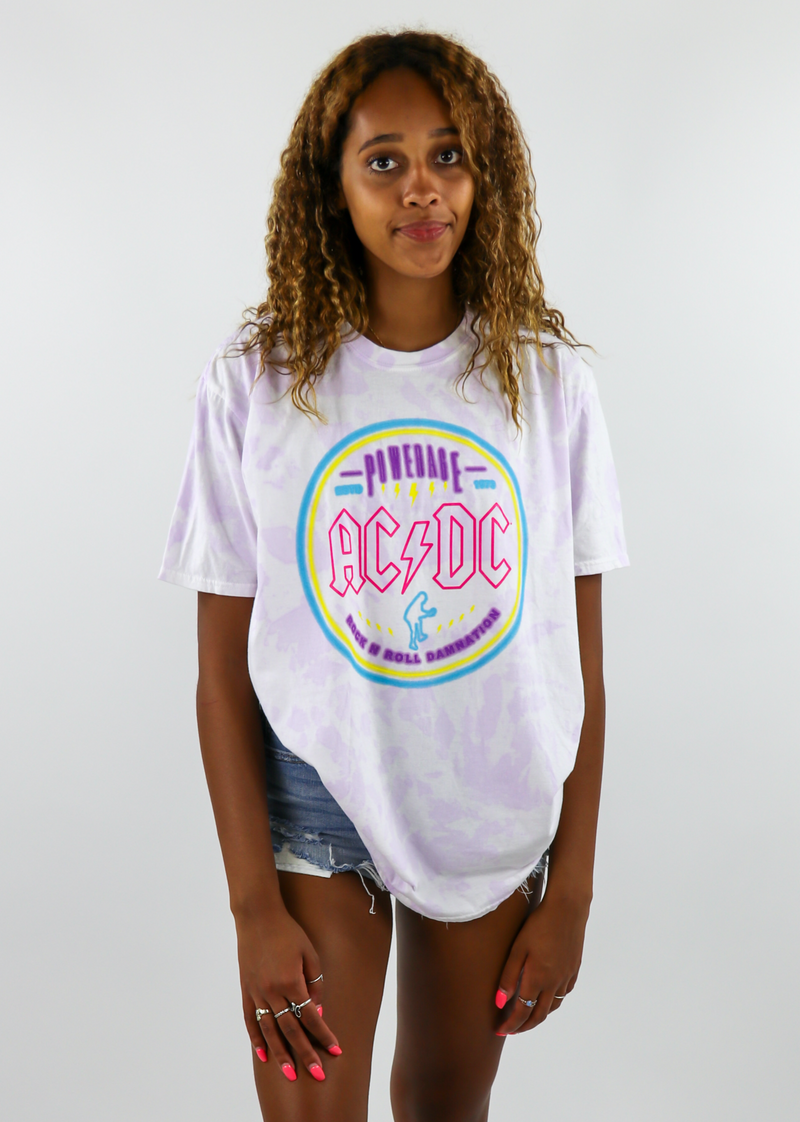 ACDC Oversized Graphic Tee ★ Purple Tie Dye - Rock N Rags