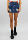 You're An All Star Distressed Denim Skirt ★ Dark Blue & Red