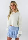 white, cropped, ribbed, scoop neck. long sleeve, sweater, comfy. cute-Rock N Rags