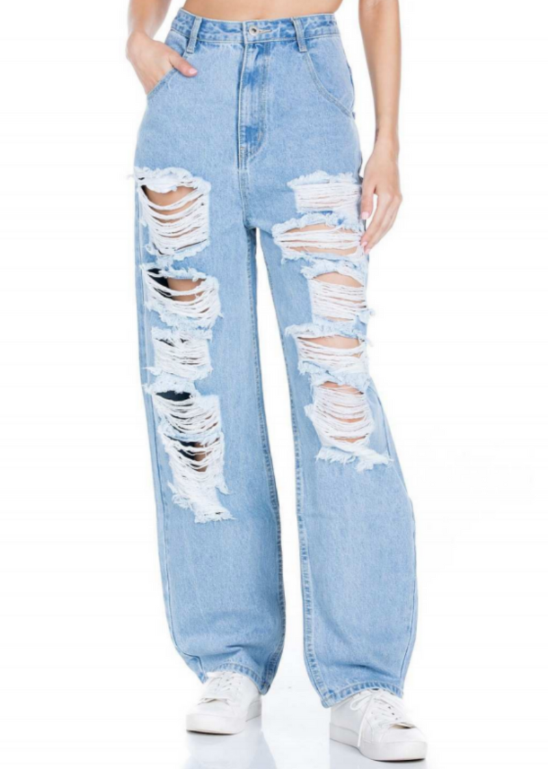 Tear It Up Boyfriend Jeans ★ Light Wash Denim