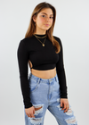 All Me Long Sleeve Crop Top V2 ★ Black
