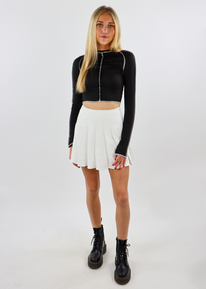 exposed seam, mock neck, crop top, black, long sleeve - Rock N Rags
