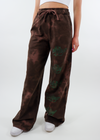 Brown Tie-Dye Tie Dye Wide Leg Sweatpants Sweat Pant with Five 5 Green Embroidered Boys Lie Symbols on Front of Left Leg
