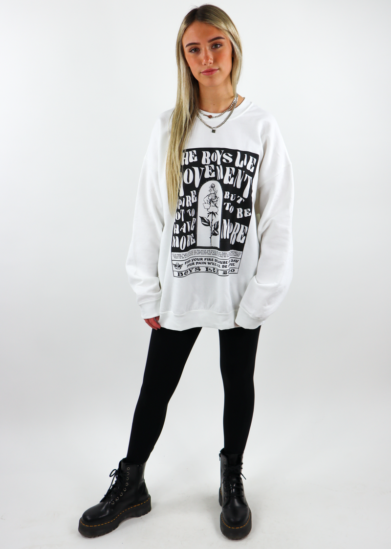 Boys Lie Movement W1 Crewneck White & Black ★ One Size