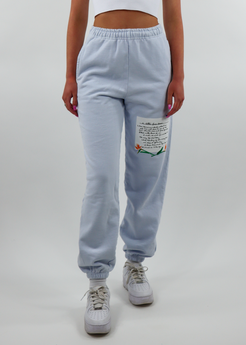 Basic Light Blue Comfy Cozy Soft Trendy Jogger Style Sweatpants Sweat Pant with Small Graphic on Front Left Leg with a Letter titled A Letter From Heaven with Elastic Waistband