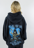 Black Distressed Soft Cozy Comfy Thin Lightweight Stone Washed Oversized Jacket Hoodie Sweatshirt with Drawstring Hood Front Pockets with Blue Ombre Boys Lie Logo Symbol on Front Left Side and Large Graphic on Back with a Women Surrounded by Skulls and Light Blue Heart with Quote We All Eat Lies on Top and Quote When Our Hearts are Hungry on Bottom