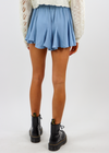 Baby Blue Flowy Short with Cinched Waistband and Tie Front