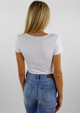 White Cropped Ribbed Notch Neckline Short Sleeve Cropped Top