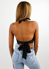 Come Thru Silky Halter Top ★ Black