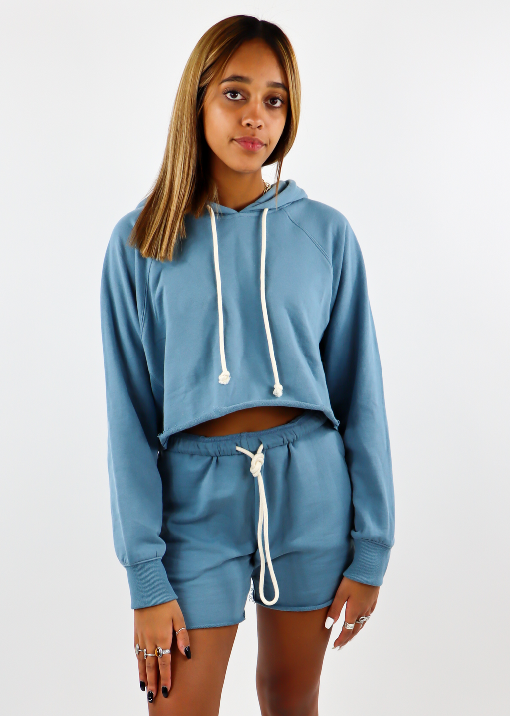Better Together Cropped Hoodie ★ Dusty Blue
