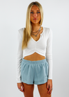 Loyal Cropped Long Sleeve Tee ★ White