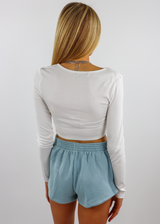 White Ruched Cinched Middle Notch Keyhole Neckline Cropped Long SleeveTee