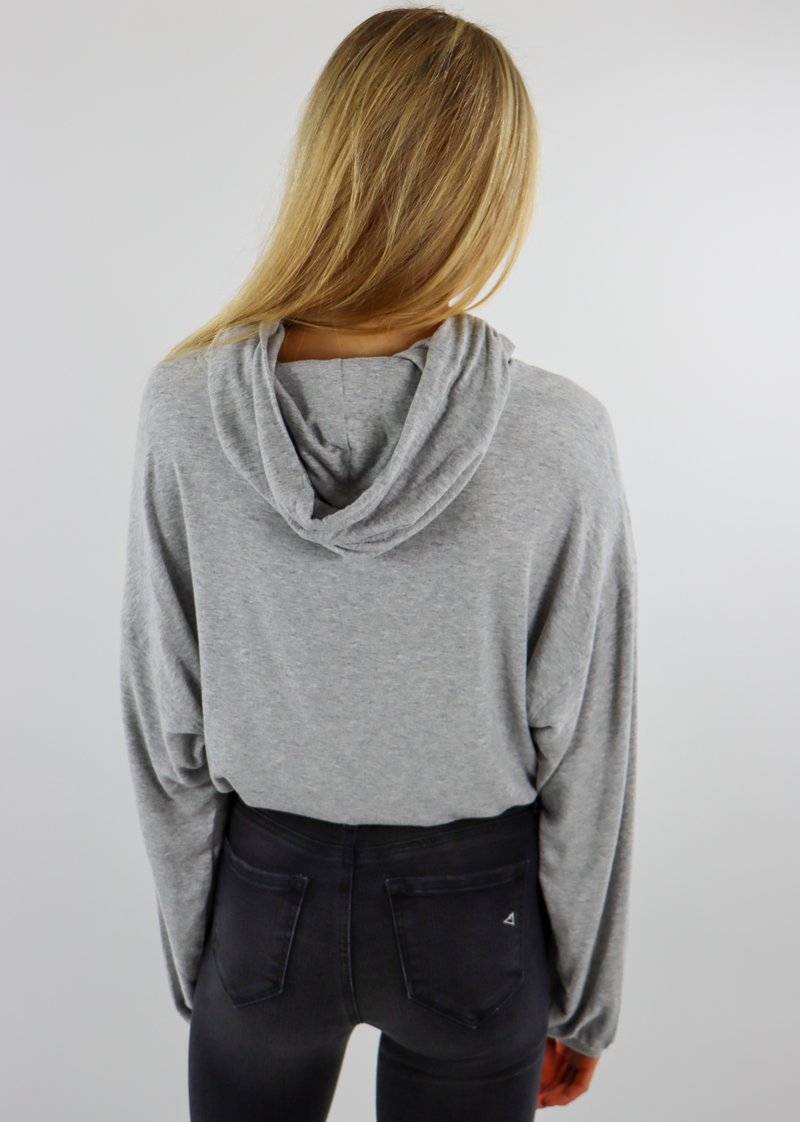 Yummy Cropped Drawstring Hoodie ★ Heather Grey