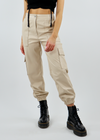 Bad Bleep Faux Leather Cargo Pants ★ Beige