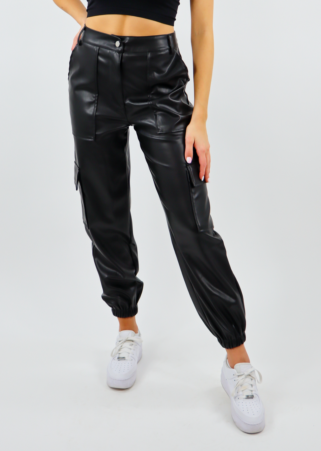 Bad Bleep Faux Leather Cargo Pants ★ Black