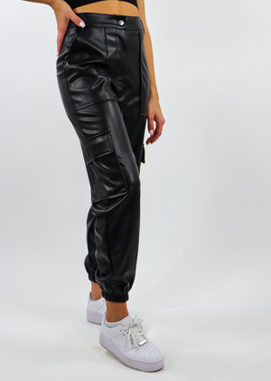 cool black faux leather cargo pants with pockets jogger pant combat